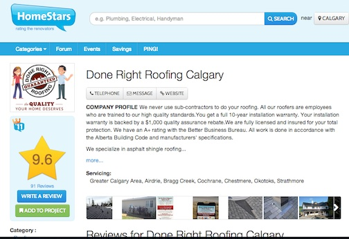 Homestars.com Roofing Reviews